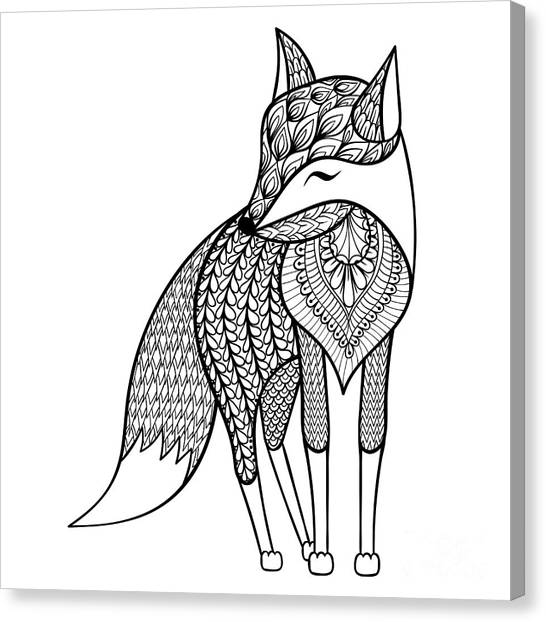 Decoration Canvas Print - Zentangle Vector Happy Fox For Adult by Panki