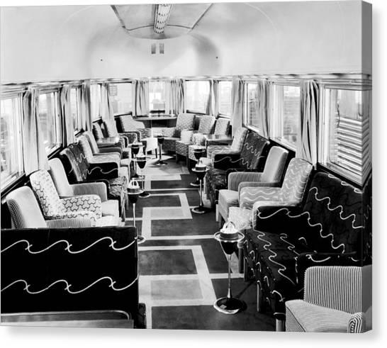 Designing Canvas Print - Zephyr Art Deco Lounge Car by Underwood Archives