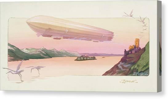 Blimps Canvas Print - Zeppelin, Published Paris, 1914 by Ernest Montaut