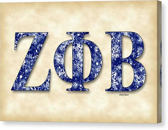 Fraternity Canvas Print - Zeta Phi Beta - Parchment by Stephen Younts