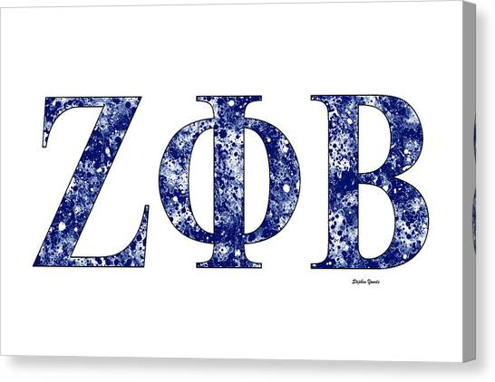 Fraternity Canvas Print - Zeta Phi Beta - White by Stephen Younts