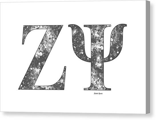 New York University Canvas Print - Zeta Psi - White by Stephen Younts