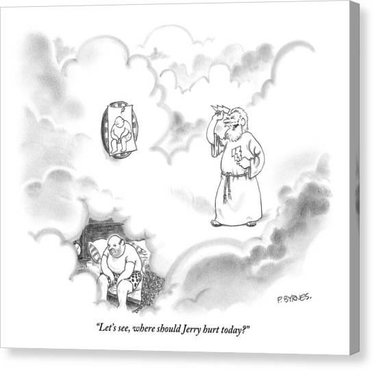 God Canvas Print - Zeus Plays Darts by Pat Byrnes