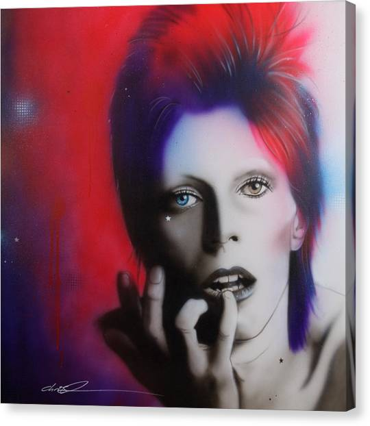 Celebrity Canvas Print - Ziggy Stardust by Christian Chapman Art