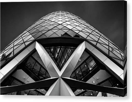 Modern Architecture Canvas Print - Zigzag (the  Gherkin) by Ahmed Thabet