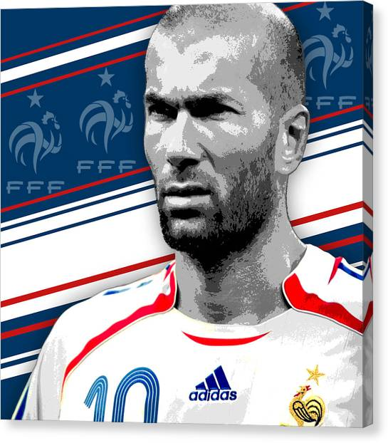 World Cup Canvas Print - Zinedine Zidane France Print by Pro Prints