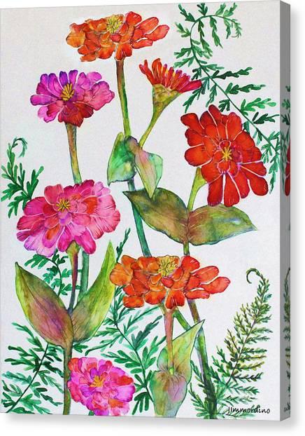 Zinnia And Ferns Canvas Print