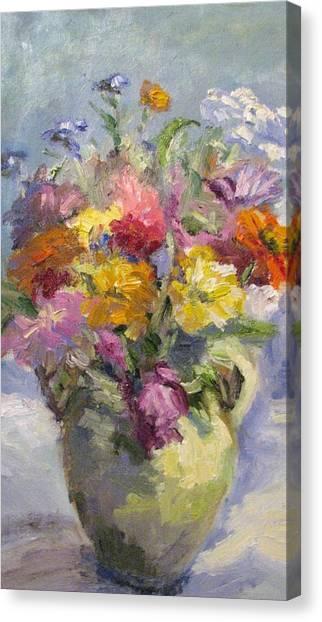 Zinnias And Wildflowers Still Life Canvas Print