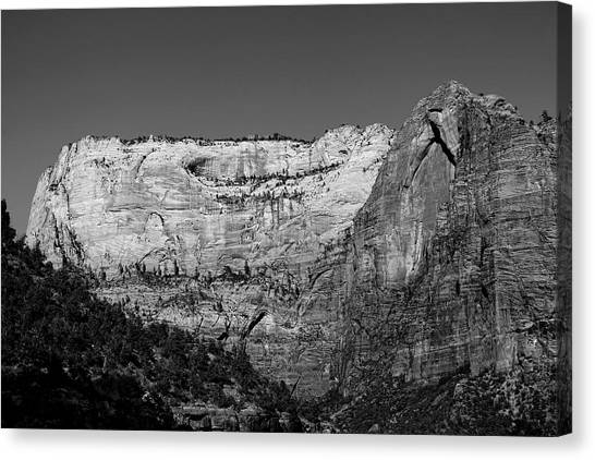 Zion Cliff And Arch B W Canvas Print