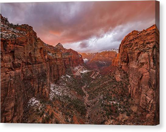 Formation Canvas Print - Zion Np -- Overlook Sunset by April Xie