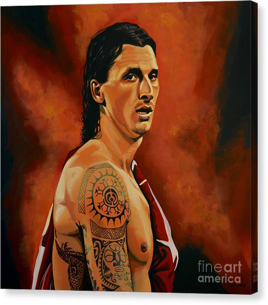 Ac Milan Canvas Print - Zlatan Ibrahimovic Painting by Paul Meijering