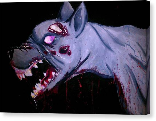 Resident Evil Canvas Print - Zombie Dog by Marisela Mungia