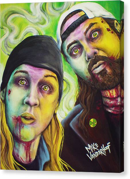 Ben Affleck Canvas Print - Zombie Jay And Silent Bob by Mike Vanderhoof