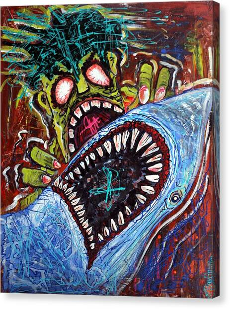 Zombie Shark Fight Canvas Print by Laura Barbosa