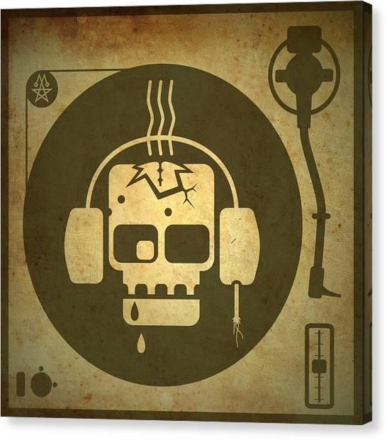 Analog Canvas Print - Zombie Turntable by Milton Thompson