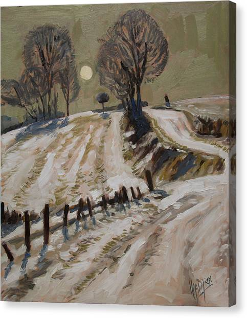 Briex Canvas Print - Zuid Limburg First Snow And Full Moon by Nop Briex