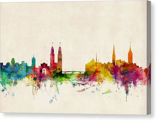 Switzerland Canvas Print - Zurich Switzerland Skyline by Michael Tompsett