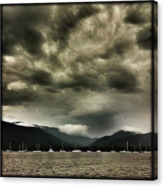 Yachts Canvas Print - ... A Rain Squall Approaches Cairns by Brian Cassey