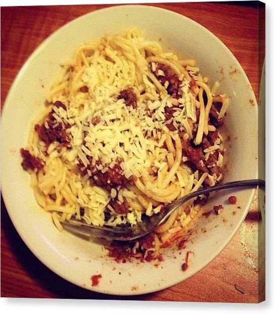 Spaghetti Canvas Print - 🍝 #bestspagbolever #dadscooking by Rachel McDonald