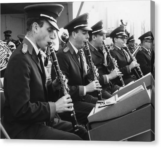 Brass Band Playing Outdoors, (b&w) Canvas Print by George Marks