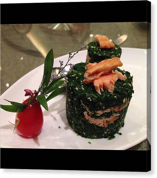 Salmon Canvas Print - 食在上海:野菜三文魚, Dining by Ck Chai