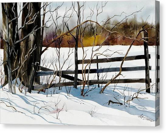 Fenced In Frost Canvas Print by Art Scholz
