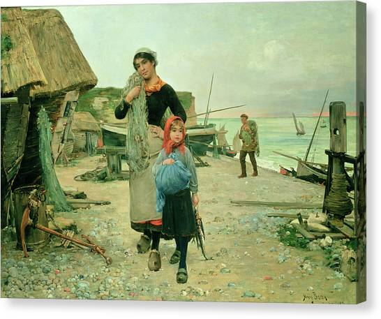 Etretat Canvas Print -  Fisherfolk Returning With Their Nets by Henry Bacon