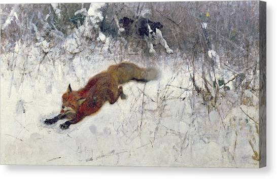 Dogs In Snow Canvas Print -  Fox Being Chased Through The Snow  by Bruno Andreas Liljefors
