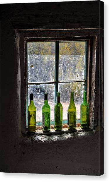Green Bottles In Window Canvas Print