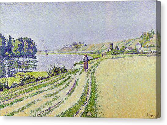 Pointillism Canvas Print -  Herblay La River  by Paul Signac