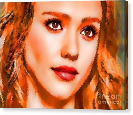 Jessica Alba Canvas Print -  Jessica Alba Portrait A by Andre Drauflos