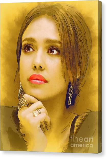 Jessica Alba Canvas Print -  Jessica Alba Portrait C by Andre Drauflos