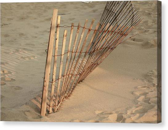 Sandy Beach Fence Canvas Print