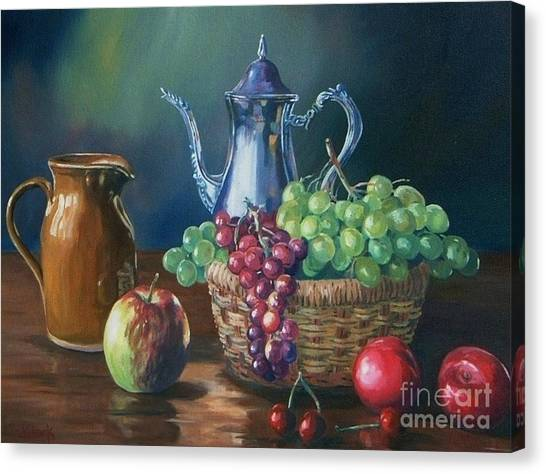 Fruit Baskets Canvas Print -  Silver by John Clark