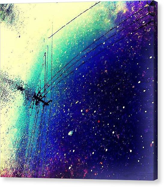 Satellite Canvas Print - #空 #sky  #雨 #rain #水溜まり by Asagi Miu