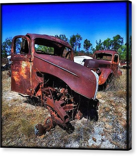 Ford Canvas Print - ... Where Old Fords Go To Die by Brian Cassey