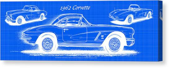 1962 Corvette Blueprint Canvas Print