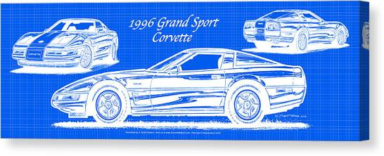 1996 Grand Sport Corvette Blueprint Canvas Print