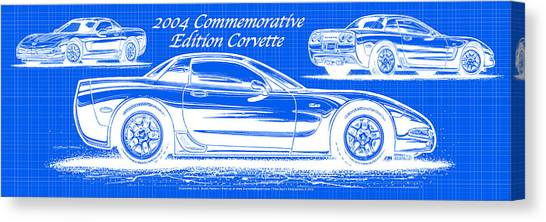 2004 Commemorative Edition Corvette Blueprint Canvas Print