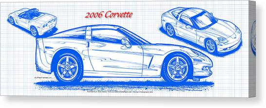 2006 Corvette Blueprint Series Canvas Print