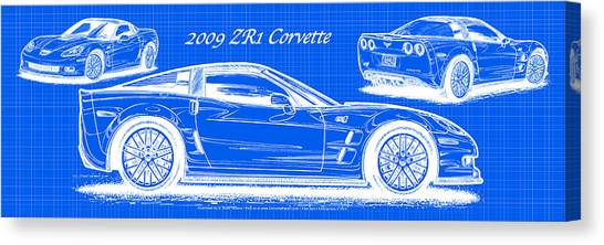 2009 C6 Zr1 Corvette Blueprint Canvas Print