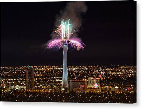 2011 New Year's Fireworks - The Stratosphere Canvas Print