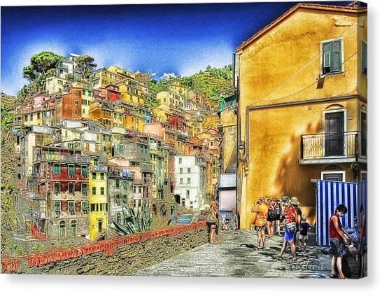 5 Terre Riomaggiore Landscape In Passeggiate A Levante Canvas Print