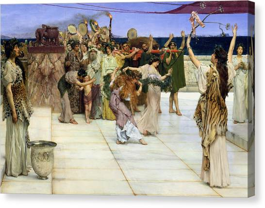 Tambourines Canvas Print - A Dedication To Bacchus by Sir Lawrence Alma-Tadema