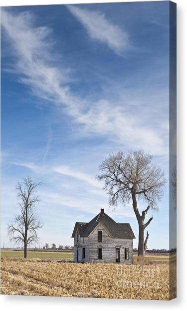 Not In Use Canvas Print - Abandoned House In Field by Dave & Les Jacobs
