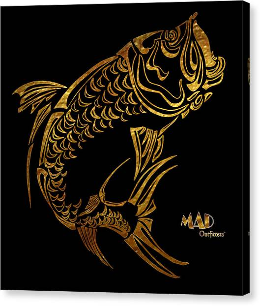 Abstract Tarpon Fishing Mad Outfitters Fish Design Canvas Print by MAD Outfitters