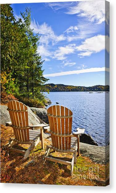 Delicieux Adirondack Chair Canvas Print   Adirondack Chairs At Lake Shore By Elena  Elisseeva
