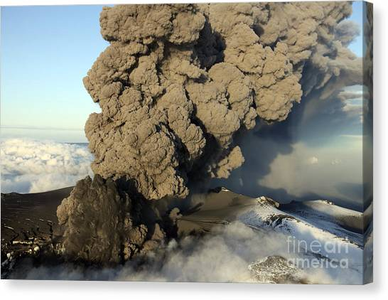 Eyjafjallajokull Canvas Print - Aerial View Of Ash Cloud Eruption by Richard Roscoe