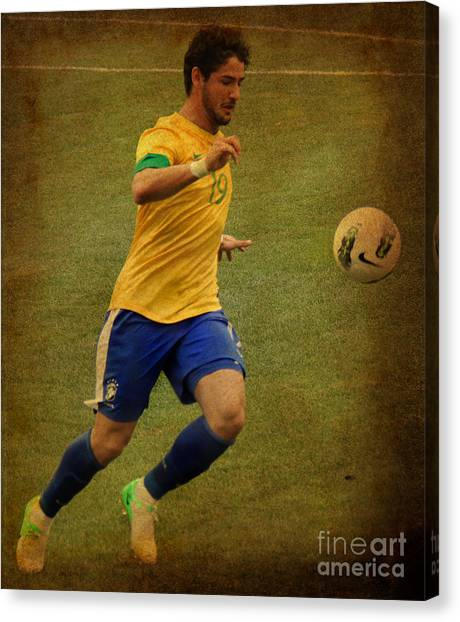 Lionel Messi Canvas Print - Alexandre Pato II by Lee Dos Santos