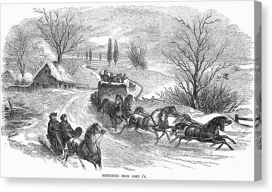 Sleds Canvas Print - America: Sleighing, 1855 by Granger